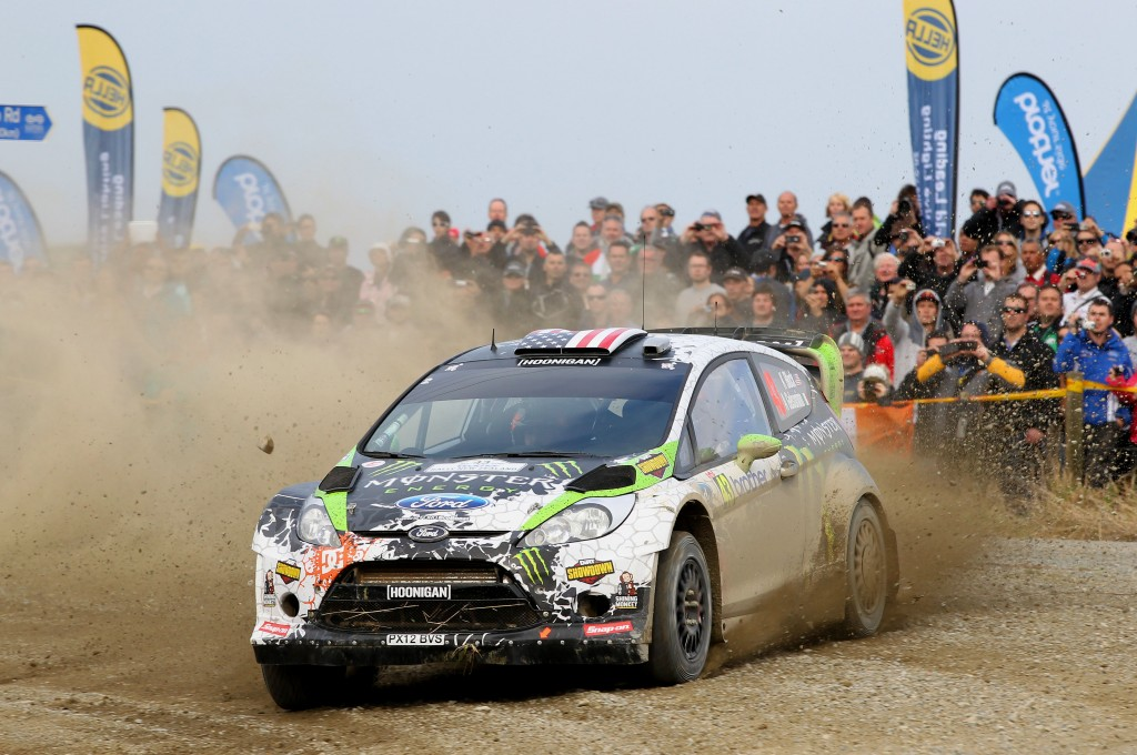 Ken Block & Alex Gelsomino in action during their last visit to NZ - 2012 WRC Rally NZ. Photo: Euan Cameron