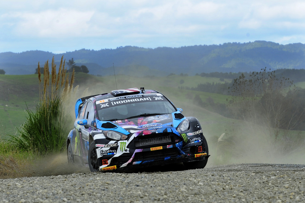 "American Motorsport Superstar Ken Block in action during the 2015 International Rally of Whangarei on the Northland roads he described as ""among the best rally stages in the world"" Photo: Geoff Ridder"