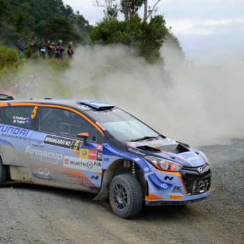 Hayden Paddon leads - photo by Geoff Ridder