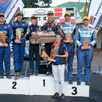 ENEOS International Rally of Whangarei podium - photo Geoff Ridder